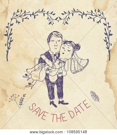 Save The Date Wedding Invitation - Retro Style