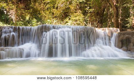 Beautiful stream water falls in deep forest national park