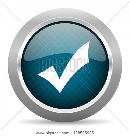 accept blue silver chrome border icon on white background