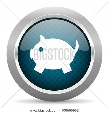 piggy bank blue silver chrome border icon on white background