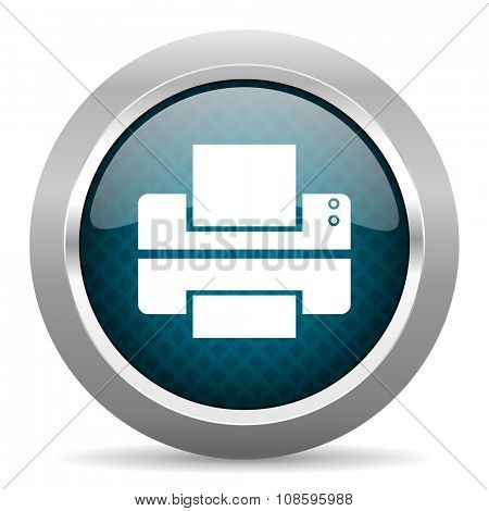 printer blue silver chrome border icon on white background