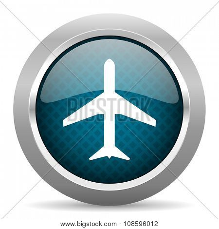 plane blue silver chrome border icon on white background