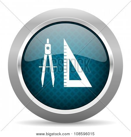 learning blue silver chrome border icon on white background