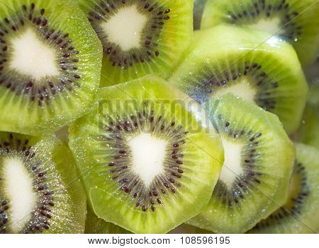Kiwi Fruit Slices In Transparent Plastic