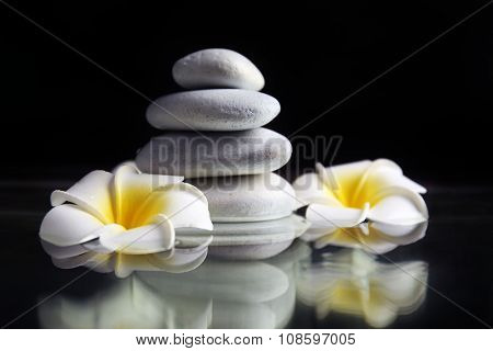 Composition of plumeria flowers and pebbles pile on black background