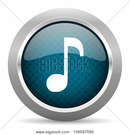 music blue silver chrome border icon on white background