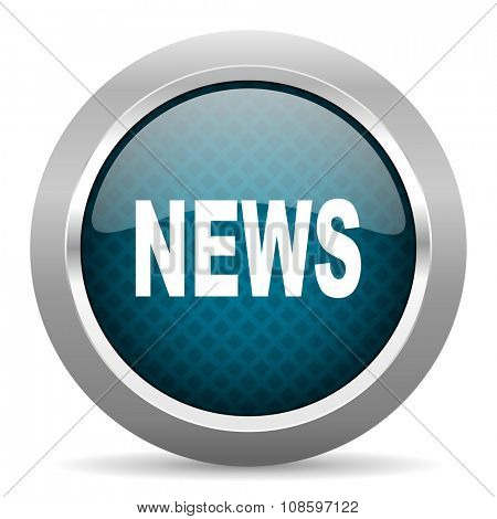 news blue silver chrome border icon on white background