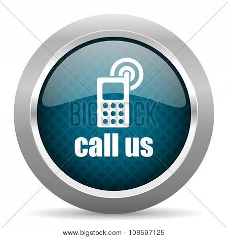 call us blue silver chrome border icon on white background