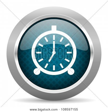 alarm blue silver chrome border icon on white background