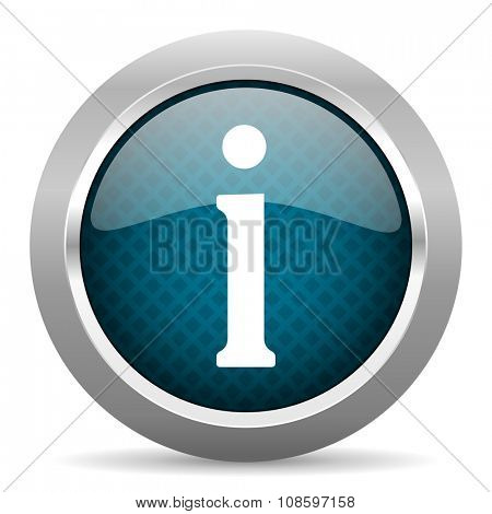 information blue silver chrome border icon on white background