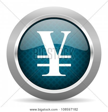 yen blue silver chrome border icon on white background