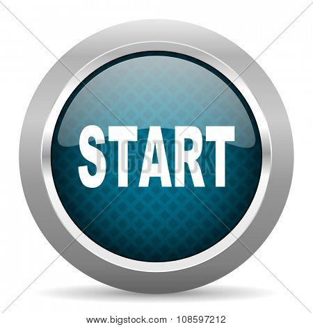 start blue silver chrome border icon on white background