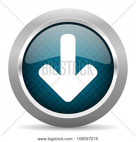 download arrow blue silver chrome border icon on white background