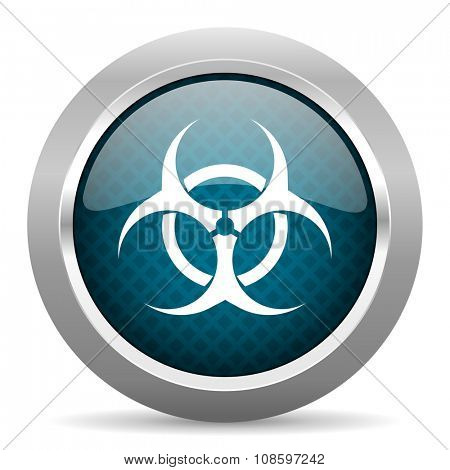 biohazard blue silver chrome border icon on white background