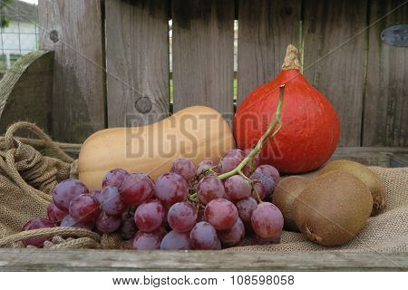 Autumn Fruits And Vegetables Under Wooden Background