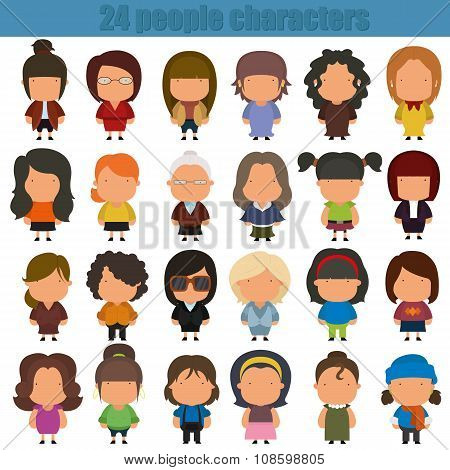 Cute Cartoon People Characters.
