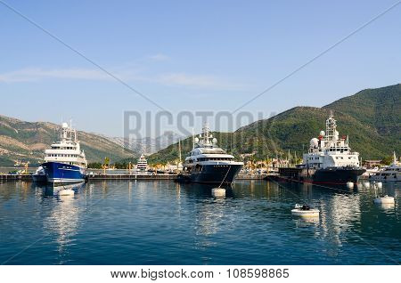 Ships In The Bay Of Tivat, Montenegro