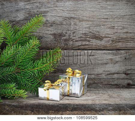 Christmas Tree And Gift Boxes.