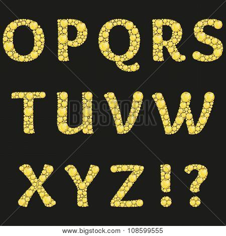 Vector alphabet with yellow diamonds letters. Luxury brilliant design with golden bright and diamond