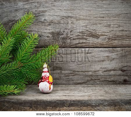 Christmas Tree And Toy Snowman.