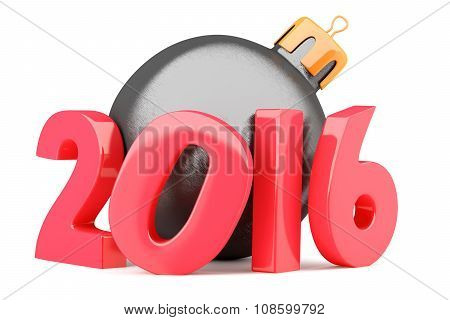 New Year 2016 Digits With Bauble