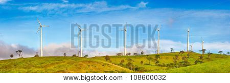 Horizontal Axis Wind Turbines near Nuwara Eliya. Sri Lankda. Panorama