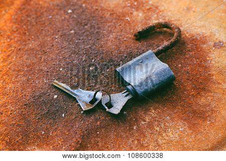 Old Padlock And Keys