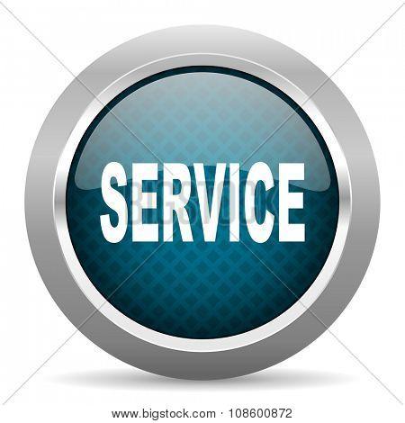 service blue silver chrome border icon on white background