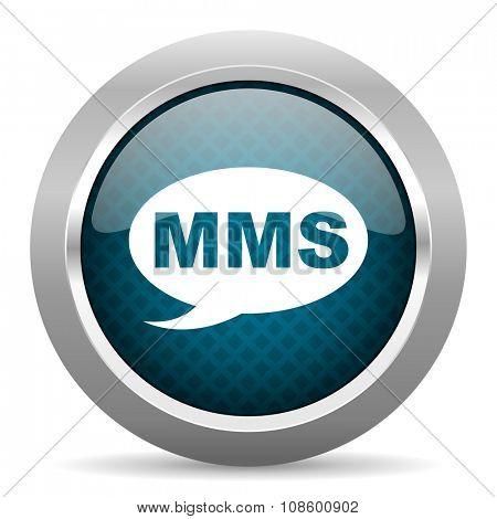 mms blue silver chrome border icon on white background