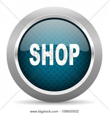 shop blue silver chrome border icon on white background