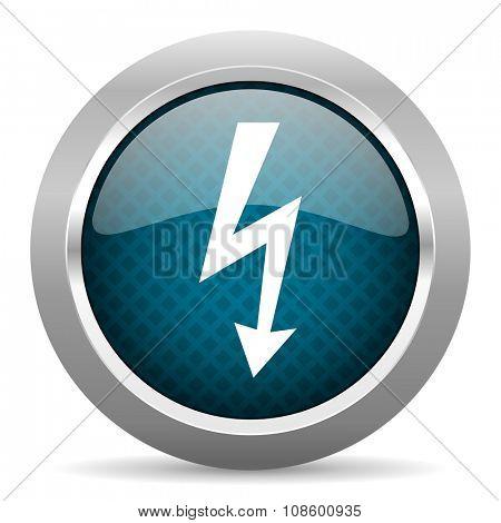 bolt blue silver chrome border icon on white background