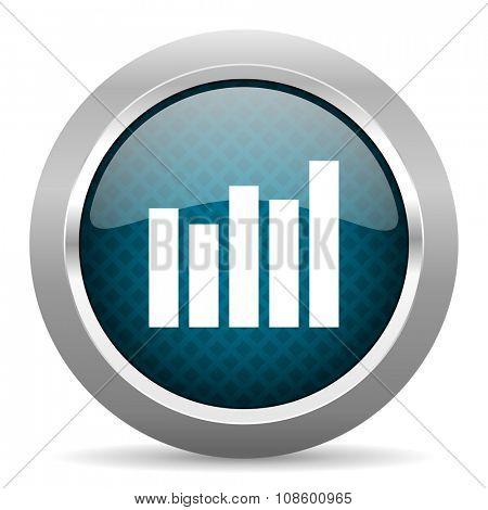 graph blue silver chrome border icon on white background