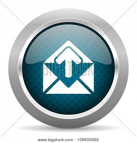email blue silver chrome border icon on white background