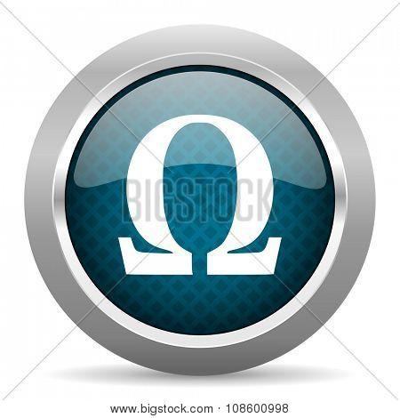 omega blue silver chrome border icon on white background