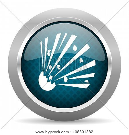bomb blue silver chrome border icon on white background