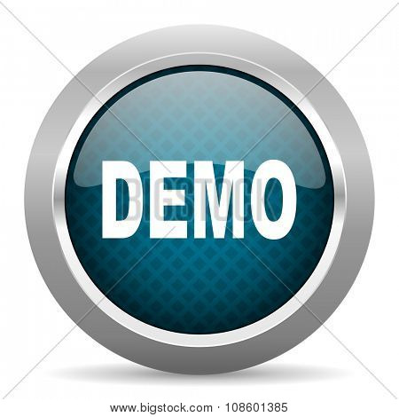 demo blue silver chrome border icon on white background