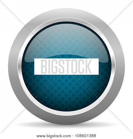 minus blue silver chrome border icon on white background