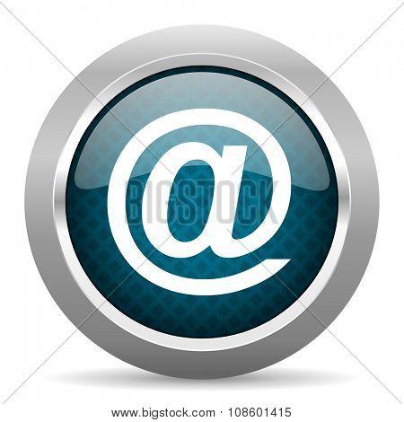 email blue silver chrome border icon on white background
