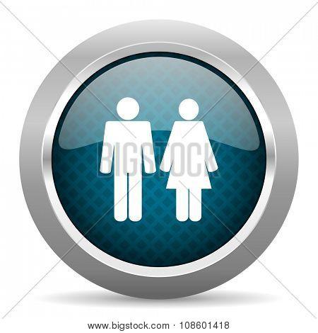 couple blue silver chrome border icon on white background