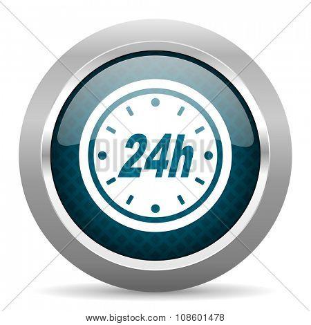 24h blue silver chrome border icon on white background