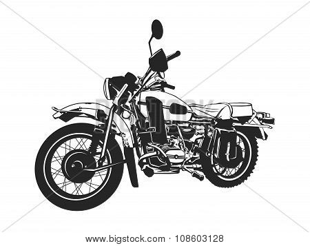 Black and white painted motorcycle.