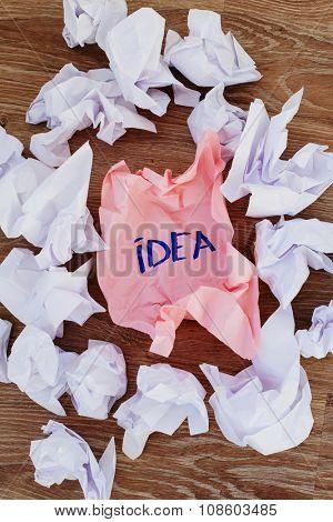 Concept. Creased paper of idea