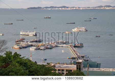 Pattaya Wharf With Panorama Of Bay And  Ships