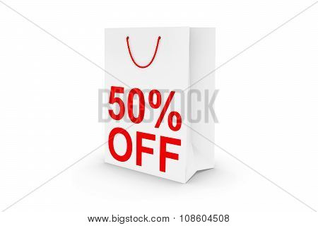 Fifty Percent Off Sale - White 50% Off Paper Shopping Bag Isolated On White