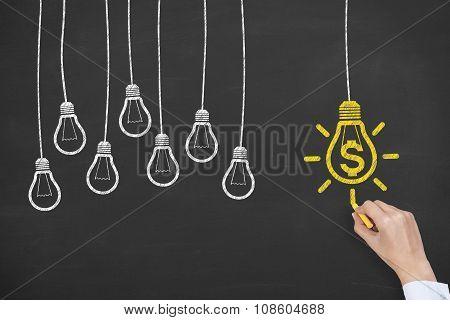 Finance Idea Concept Drawing Work on Blackboard