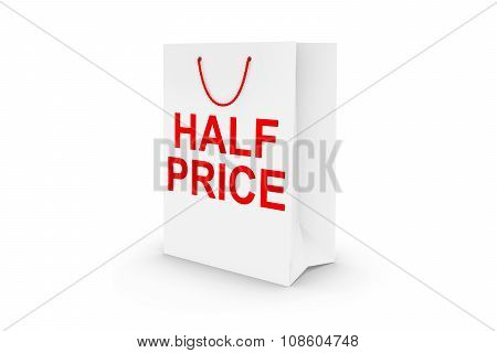White Half Price Paper Shopping Bag Isolated On White