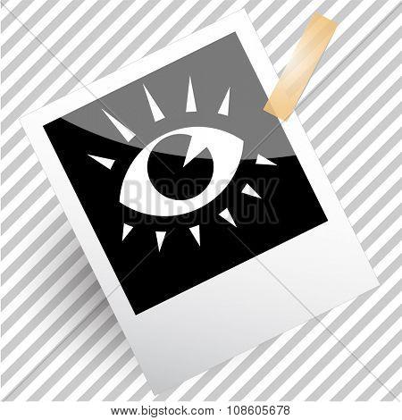 eye. Photoframe. Raster icon.