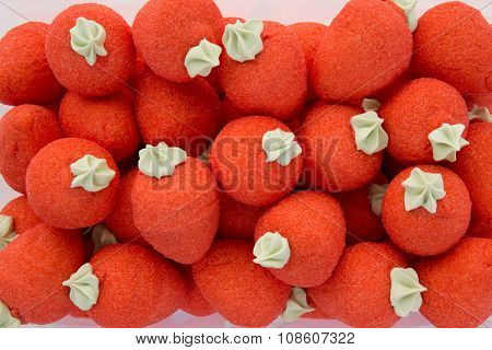 Background Of Red Strawberries Candies