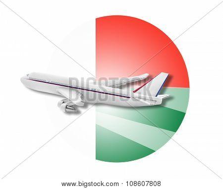 Plane and Madagascar flag.
