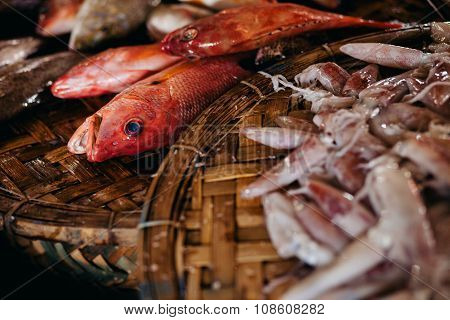 Raw Fish Sliced And Cut At Street Market